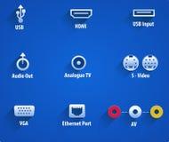 Segni e simboli dei video porti di Ethernet illustrazione vettoriale