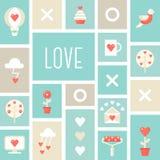 Segni e simboli di amore San Valentino della st, amore ed illustrazione di datazione Fotografia Stock