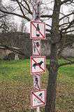 Segni e simboli di proibizione Immagine Stock
