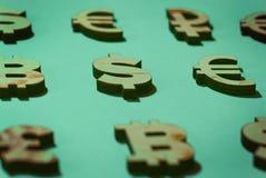 Segni e simboli di soldi fotografia stock