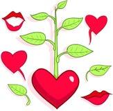 Segni e simboli rossi di amore Immagini Stock Libere da Diritti