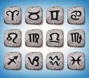 Segni ed icone dello zodiaco messi sulle rocce Immagine Stock Libera da Diritti