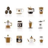 Segni ed icone di industria del caffè Fotografie Stock