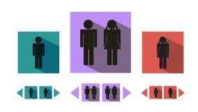 Segni ed indicatori moderni piani della toilette di vettore royalty illustrazione gratis