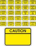 Segni gialli di avvertenza di vettore Fotografia Stock