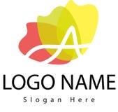 Segni il logo con lettere di A con la spruzzata dell'acqua Fotografia Stock Libera da Diritti