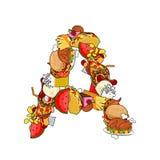 Segni l'alimento con lettere di A Segno di tipografia dai prodotti EL commestibile del modello Fotografie Stock