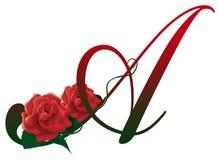 Segni l'illustrazione con lettere floreale rossa di A Immagine Stock Libera da Diritti