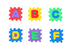 Segni la a con lettere, la b, la c, la d, la e, f Immagini Stock Libere da Diritti