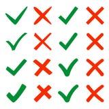 Segni la X e la V Ganci verdi, croci rosse Sì, no Immagini Stock Libere da Diritti
