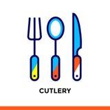 Segni la linea COLTELLERIA dell'icona del forno, cucinante Vector il pittogramma piano moderno per l'applicazione ed il web desig Fotografia Stock Libera da Diritti