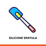 Segni la linea SPATOLA del SILICONE dell'icona del forno, cucinante Vector il pittogramma piano moderno per l'applicazione ed il  Fotografie Stock Libere da Diritti