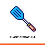 Segni la linea SPATOLA DI PLASTICA dell'icona del forno, cucinante Vector il pittogramma piano moderno per l'applicazione ed il w Immagine Stock