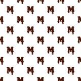 Segni la m. con lettere dall'alfabeto latino fatto di cioccolato illustrazione di stock