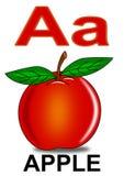 Segni la mela con lettere di A Fotografia Stock