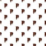Segni la P con lettere dall'alfabeto latino fatto di cioccolato illustrazione vettoriale