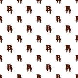 Segni la R con lettere dall'alfabeto latino fatto di cioccolato illustrazione di stock
