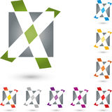Segni la x con lettere, segno di spunta e rettangolo, X e logo del segno convenzionale Immagine Stock