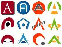 Segni le icone con lettere di marchio Fotografia Stock