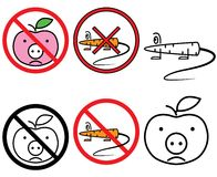 Segni liberi del GMO di vettore impostati (CMYK) Fotografia Stock Libera da Diritti
