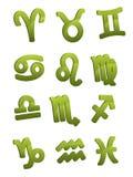 Segni lucidi verdi di horoscope Immagine Stock Libera da Diritti