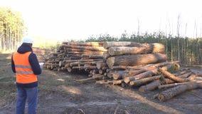 Segni maschii caucasici dell'ispettore e disboscamento illegale delle annotazioni, silvicoltore stock footage