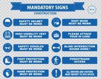 Segni obbligatori, salute della costruzione, segnaletica di sicurezza utilizzata nelle applicazioni industriali Immagine Stock