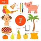 Segni P con lettere Alfabeto del fumetto per i bambini Pera, maiale, penna, matita, Immagini Stock Libere da Diritti