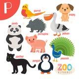 Segni P con lettere Animali svegli Animali divertenti del fumetto nel vettore Fotografia Stock Libera da Diritti
