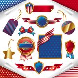 Segni patriottici, contrassegni, modifiche ed emblema degli S.U.A. Fotografia Stock Libera da Diritti