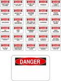 Segni rossi del pericolo di vettore Fotografie Stock Libere da Diritti