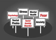 Segni sociali di disturbo di ansia Immagine Stock