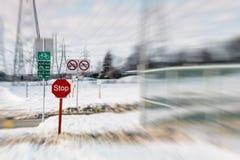 Segni su una traccia di gatto delle nevi in Laval Fotografia Stock Libera da Diritti