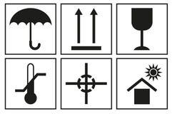Segni sull'imballaggio Icona logistica per la scatola Simboli d'imballaggio della scatola Immagini Stock Libere da Diritti