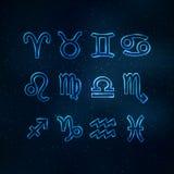 Segni trasparenti blu dello zodiaco Fotografia Stock Libera da Diritti