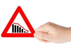 Segni triangolari del diagramma con la mano Fotografia Stock