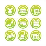 Segni verdi di acquisto Fotografia Stock