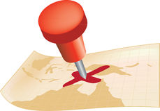 Segni x il punto con un perno su una mappa Fotografie Stock