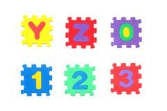 Segni y, la z ed il numero con lettere 0, 1, 2, 3 Immagini Stock Libere da Diritti