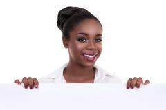 Segno africano della donna di affari Fotografie Stock Libere da Diritti