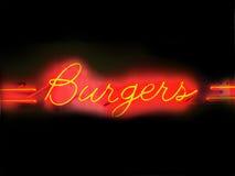 Segno al neon degli hamburger Fotografie Stock Libere da Diritti