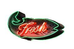 Segno al neon dei pesci freschi Immagine Stock