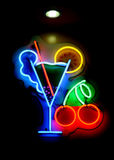 Segno al neon del cocktail Immagine Stock Libera da Diritti