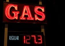 Segno al neon del gas Fotografia Stock Libera da Diritti