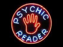 Segno al neon del lettore psichico Fotografie Stock Libere da Diritti