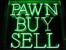 Segno al neon del negozio di pegno Fotografia Stock Libera da Diritti