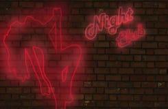 Segno al neon del night-club Fotografia Stock Libera da Diritti