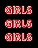 Segno al neon del PARTITO rosso delle ragazze Fotografia Stock