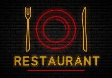 Segno al neon del ristorante illustrazione vettoriale