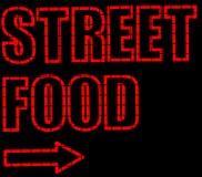 Segno al neon dell'alimento della via Fotografia Stock Libera da Diritti